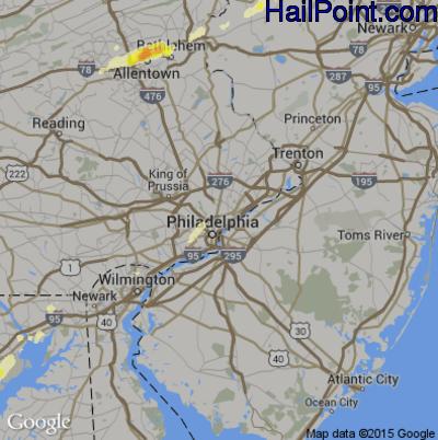 Hail Map for Philadelphia, PA Region on June 30, 2015