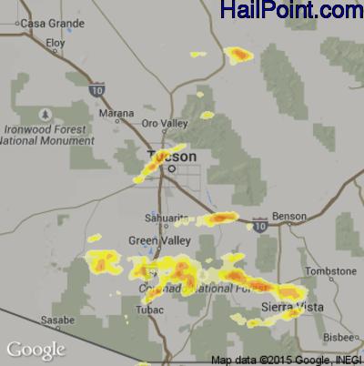 Hail Map for Tucson, AZ Region on June 30, 2015