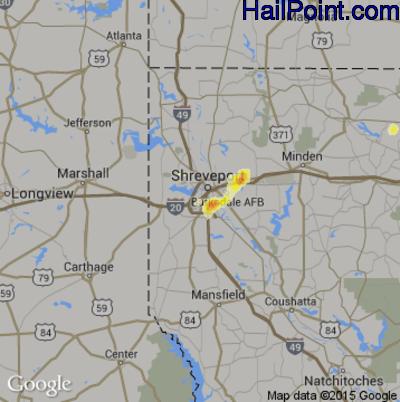 Hail Map for Shreveport, LA Region on June 30, 2015