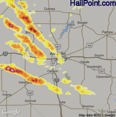 Hail Map for Amarillo, TX Region on July 8, 2015