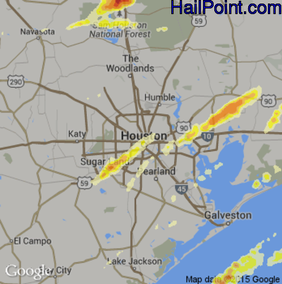 Hail Map for Houston, TX Region on January 8, 2016