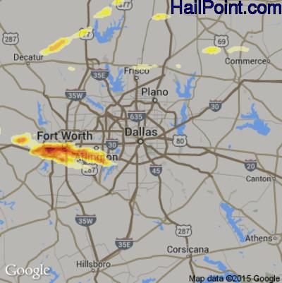 Hail Map for Dallas, TX Region on March 17, 2016
