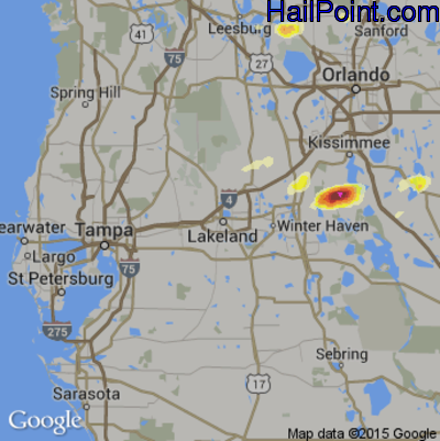 Hail Map For Lakeland Fl Region On March 26 2016