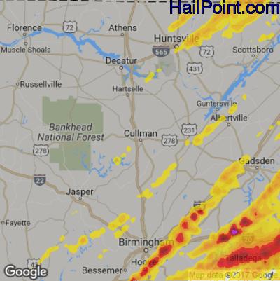 Hail Map for Cullman, AL Region on April 5, 2017