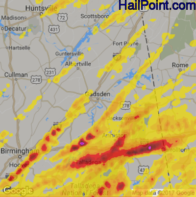 Hail Map for Gadsen, AL Region on April 5, 2017
