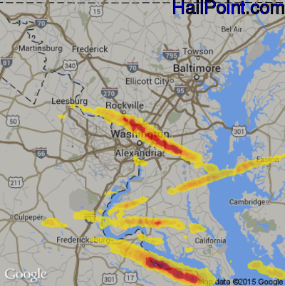 Hail Map for Washington, DC Region on April 21, 2017
