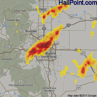 Hail Map for Denver, CO Region on May 8, 2017
