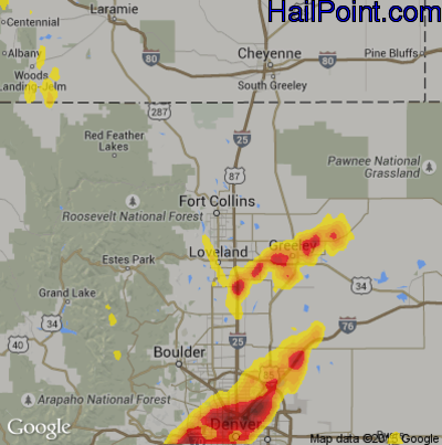 Hail Map for Fort Collins, CO Region on May 8, 2017