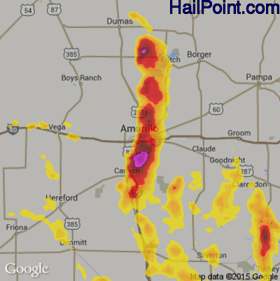 Hail Map for Amarillo, TX Region on June 8, 2017