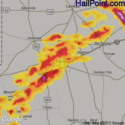 Hail Map for Midland, TX Region on June 14, 2017