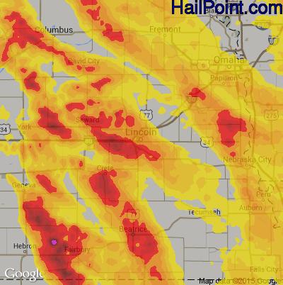 Hail Map for Lincoln, NE Region on June 16, 2017