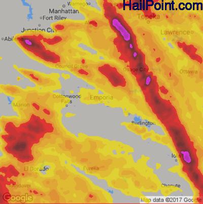 Hail Map for Emporia, KS Region on June 17, 2017