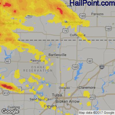 Hail Map for Bartlesville, OK Region on June 18, 2017