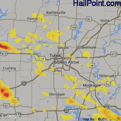 Hail Map for Tulsa, OK Region on June 18, 2017