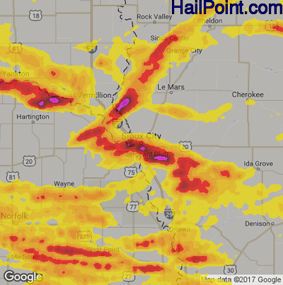 Hail Map for Sioux City, IA Region on June 29, 2017