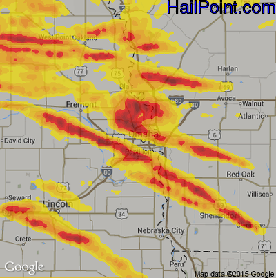 Hail Map For Omaha NE Region On June - Ne map