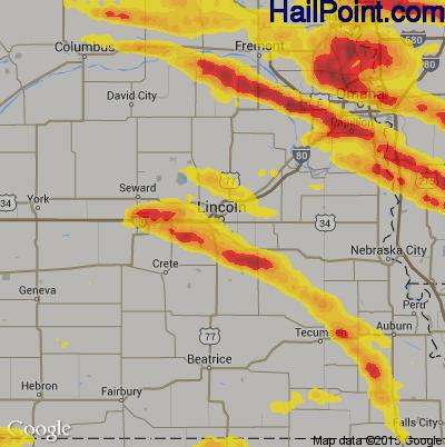 Hail Map for Lincoln, NE Region on June 30, 2017