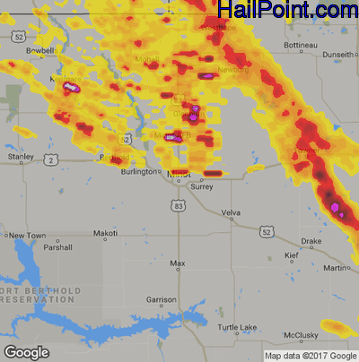 Hail Map for Minot, ND Region on July 5, 2017