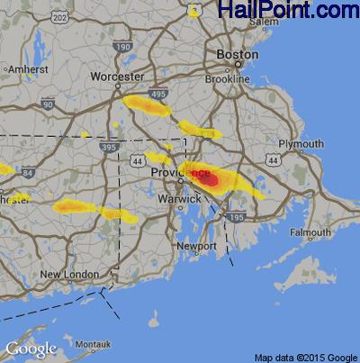 Hail Map for Providence, RI Region on July 12, 2017