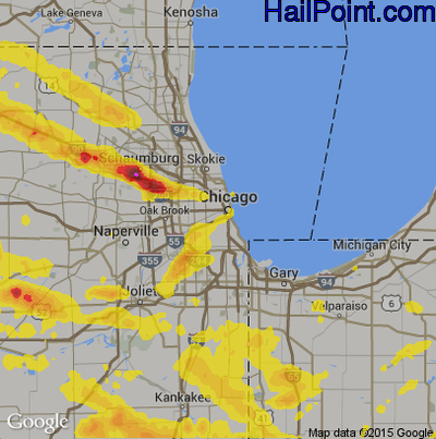 Hail Map for Chicago, IL Region on July 21, 2017