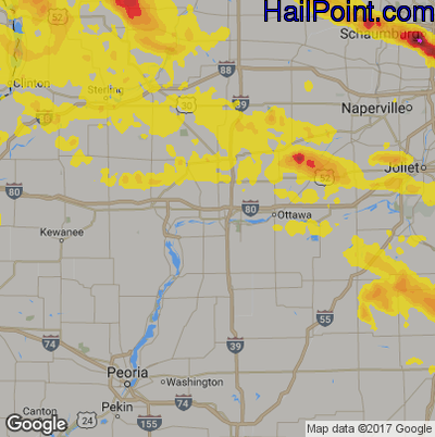 Hail Map for Peru, IL Region on July 21, 2017