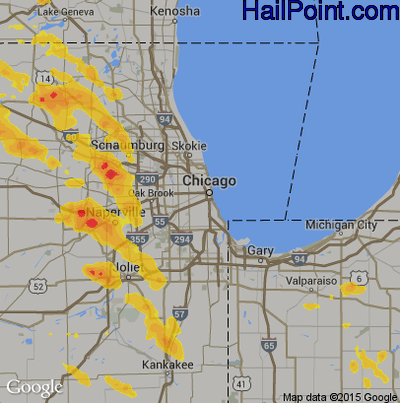 Hail Map for Chicago, IL Region on July 23, 2017