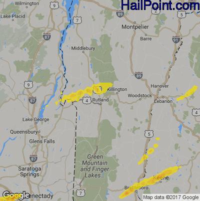 Hail Map for Rutland, VT Region on September 5, 2017