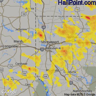 Hail Map for Shreveport, LA Region on September 5, 2017