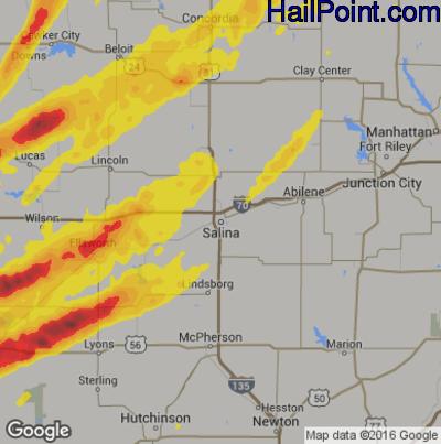 Hail Map for Salina, KS Region on October 6, 2017