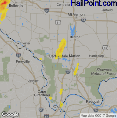 Hail Map for Carbondale, IL Region on October 10, 2017