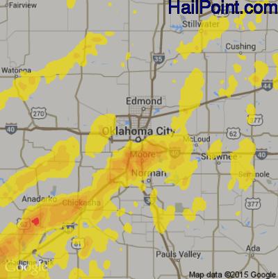 Hail Map for Oklahoma City, OK Region on October 21, 2017