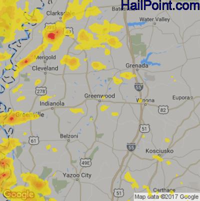 Hail Map for Greenwood, MS Region on November 3, 2017