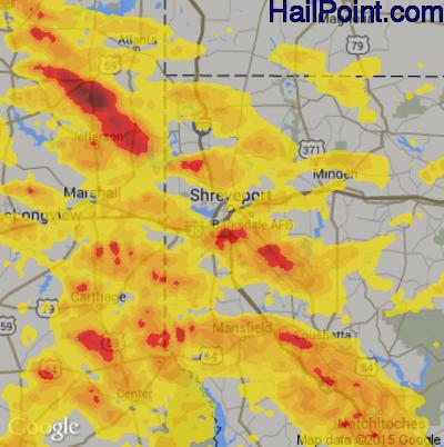 Hail Map for Shreveport, LA Region on April 6, 2018