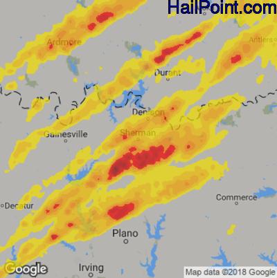 Hail Map for Sherman, TX Region on April 13, 2018