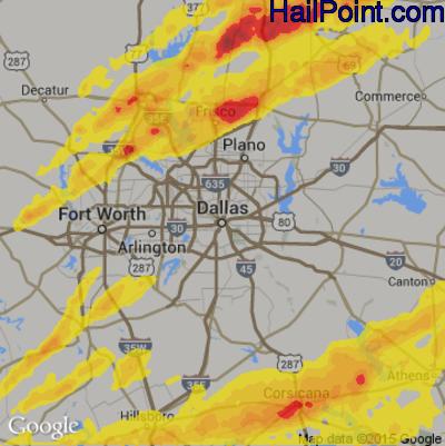 Hail Map for Dallas, TX Region on April 13, 2018