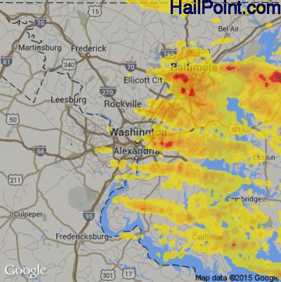 Hail Map for Washington, DC Region on May 12, 2018