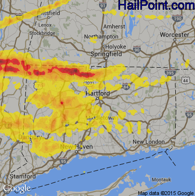 Hail Map for Hartford, CT Region on May 15, 2018
