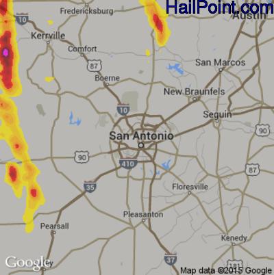 Hail Map for San Antonio, TX Region on May 16, 2018