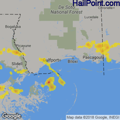 Hail Map for Gulfport, MS Region on May 18, 2018