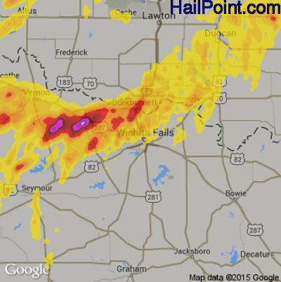 Hail Map for Wichita Falls, TX Region on May 19, 2018