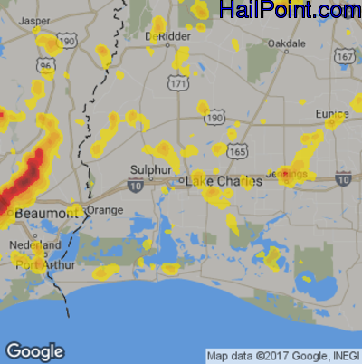 Hail Map for Lake Charles, LA Region on May 26, 2018