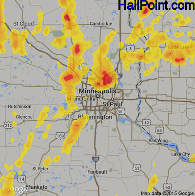 Hail Map for Minneapolis, MN Region on May 28, 2018