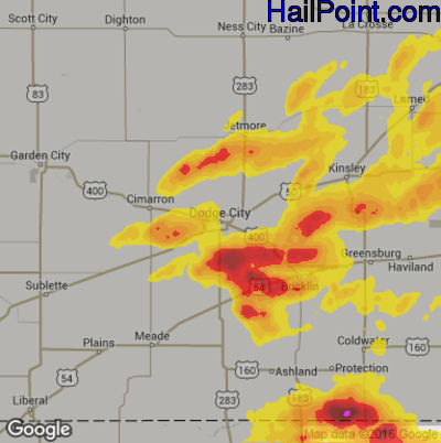 Hail Map for Dodge City, KS Region on May 29, 2018 Map Of Dodge City Ks on