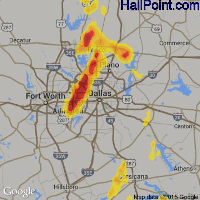 Hail Map for Dallas, TX Region on June 6, 2018