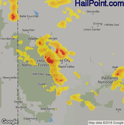 Hail Map for Rapid City, SD Region on June 8, 2018