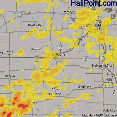 Hail Map for Lincoln, NE Region on June 18, 2018