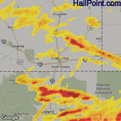 Hail Map for Cheyenne, WY Region on June 18, 2018
