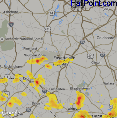 Hail Map For Fayetteville Nc Region On June 25 2018