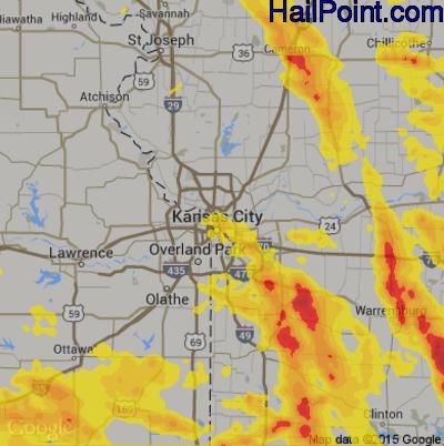 Hail Map for Kansas City, MO Region on July 19, 2018