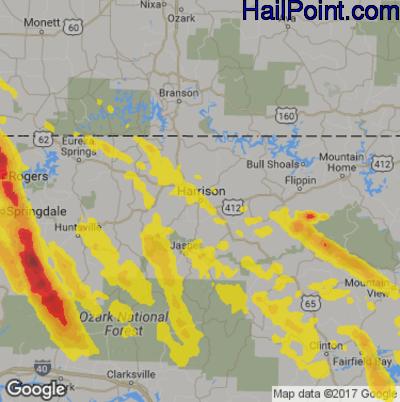 Hail Map for Harrison, AR Region on July 21, 2018